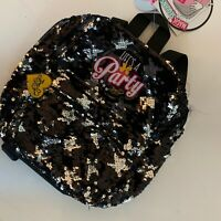 Jojo Siwa Mini Black And Silver Flip Sequin Pom Pom Backpack Life's A Party NWT