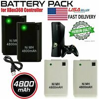 2/4X Rechargeable 4800mAH Battery Pack For Microsoft Xbox360 Wireless Controller