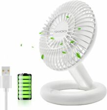 Foldable Desk Fan Small Personal Table Fan Portable USB Rechargeable 3 Speed Hea