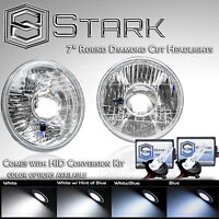 """H6024 Head Light Glass Housing Lamp Projector Conversion Chrome 7"""" Round HID Kit"""