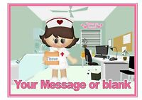 ND1 Cute Medical Nurse birthday personalised A4 cake topper icing sheet