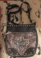 MISS ME VEGAN LEATHER BLACK & WHITE LEOPARD PRINT CROSSBODY BAG PURSE NWOT