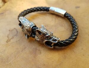Armband Wölfe Lederband Geri Freki Fenris Wikinger Thorshammer K24.7 Asatru