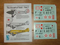 NEW! 1/72 and 1/144 scale AIRCRAFT OF TINTIN DECALS PART 7 BY BLUE RIDER (CD015)
