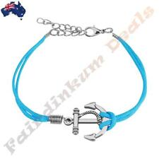 Blue Leatherette Bracelet With Anchor & Lobster Claw Clasp