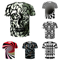 Mens Womens Casual T-Shirt 3D Hypnosis Swirl Print Short Sleeve Graphic Tee Tops