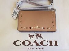 NWT Coach Foldover Crossbody Clutch With Floral Tooling Nude Pink F26007