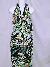 Halter Empire Maxi Evening Gown Prom Dress Women's size S Small Stretch NWT