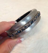 ALEXIS BITTAR Silver Tone WHITE LUCITE Blue Crystal Encrusted Band Bracelet