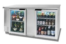 "Beverage-Air 69"" Two-Section Backbar Glass Door Cooler W/ S/S Exterior"