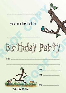 #66 STICKMAN Pack of 10 kids children birthday party INVITATIONS