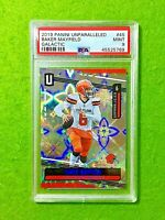 BAKER MAYFIELD GALACTIC PRIZM CARD GRADED PSA 9 BROWNS SP 2019 Unparalleled  SSP
