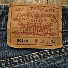 Vintage LEVI'S 501 1998 Button Fly Jeans 32x34. Made in USA Selvedge 653 0198