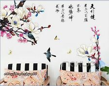 Magnolia Flower Blossom Birds Wall Stickers Removable Kids Nursery Decals Art