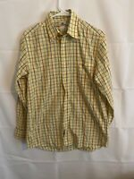 Lacoste Mens Size 40 M/Lg Long Sleeve Casual Plaid Button Down Cotton Shirt EUC