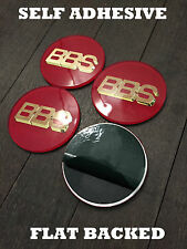 4 x BBS RS Style Self Adhesive Acrylic 7cm 69mm Centre Caps Red / Gold