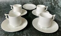 Vintage White Espresso Set, Coffee Tea Cup Set, Ornate Footed Glass Cup Saucer