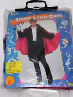 Adult Short Lined Red & Black Cape Halloween Party Theater Costume Rubies