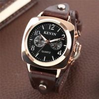 KEVIN Military Watch For Men Quartz Analog Watches Leather Strap Sport Army