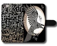 Black Raven Vikings Warrior Odin Thor Gods Run Magnetic Leather Phone Case Cover