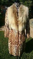 Luxury Full length Coat Real fur shadow fox collar spotted leopard print rabbit