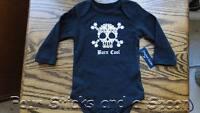 NWT Faded Glory Boy's Born Cool Skull Snowflake Black One Piece Sizes NB & 3-6 M