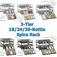 3-Tier Kitchen Storage Spice Rack Drawer 18/24/30 Pantry Cabinet Organizer