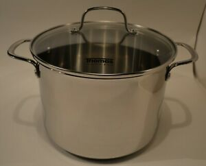 THOMAS STAINLESS STEEL 24CM STOCKPOT WITH GLASS LID 7.5LTR