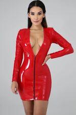 SPLASHWEAR RED PVC MINI DRESS FRONT ZIPPED SHINY PU WETLOOK Fetish Sz 8