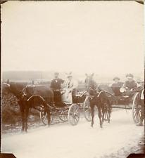 France, Chaumontel, Calèches, 1895, Vintage citrate print Vintage citrate print