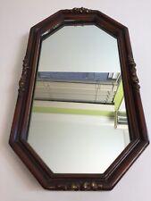 "Vintage Octagonal Mirror Wall Hanging, Wood Frame, 13 1/2"" x 7 1/2"""