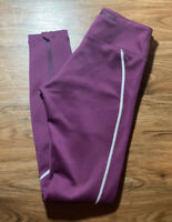 Asics Purple Athletic Leggings With Zipper An Reflective Size Xs