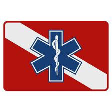 """Dive Flag Blue Star of Life Very Small Reflective Helmet Decal ( 1 3/8"""" x 2"""")"""