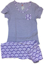 Hanes Womens Lavender Striped V-Neck Capri Short Sleeve Pajamas Cotton Blend XS