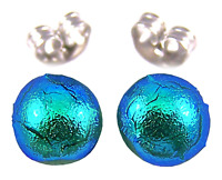 """Tiny DICHROIC GLASS Post EARRINGS 1/4"""" 7mm Viridian Teal Green STUDS Dots Small"""