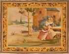 Original Antique French Hand Woven Tapestry 3.9 x 4.9
