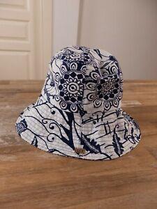 $880 DIOR Toile de Jouy cotton large brim bucket hat - Size 57 / Medium - NWT