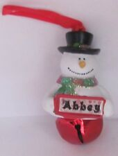 25315 ABBEY NAME FROSTY SNOWMAN COLOUR BELL CHRISTMAS TREE DECORATION GIFT