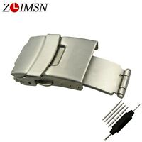 ZLIMSN Deployment Butterfly Watchband Folded Clasp Stainless Steel Silver Buckle