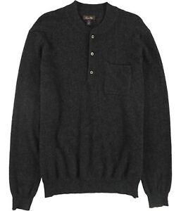 Tasso Elba Mens Cashmere Henley Sweater, Black, Large