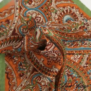NWOT Made in Italy 100% Silk Olive Green Orange Sketch Paisley Pocket Square NR