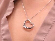 "925 Sterling Silver Heart Charm Pendant Women 18"" Chain Necklace Genuine Real"