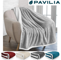 Sherpa Flannel Fleece Reversible Blanket Plush Soft Throw for Bed Couch Sofa