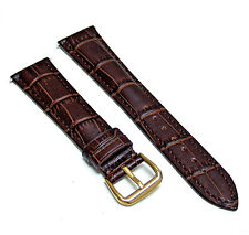 20mm Brown Genuine Leather Watch Strap Band with Gold Buckle