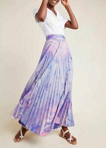 NWT Anthropologie Siddhartha Bansal Marble Dyed Pleated Maxi Skirt Boho 2 $160