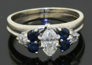 14K WG 1.55CTW Marquise VS diamond/sapphire wedding/engagement ring w/ .75CT ctr