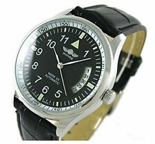 Fanmis Mens Sport Day Date Black Leather Automatic Self Winding Watch