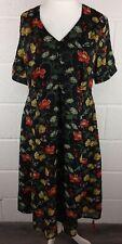 JOE BROWNS DARK FLORAL BIRD PRINT TEA DRESS - SIZE 16 UK BNWT