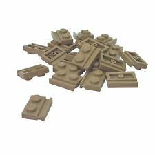 20 NEW LEGO Plate, Modified 1 x 2 with Door Rail Dark Tan