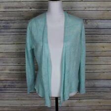 White + Warren Linen Open Front Cardigan Sweater Green Lightweight Draped Medium